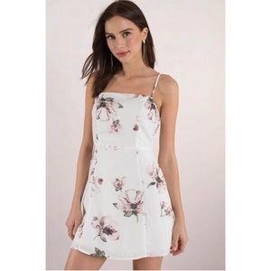 White Square Neck Floral Dress